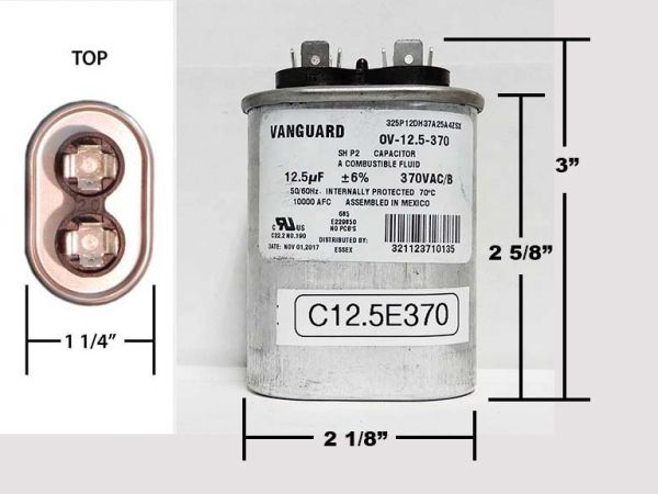 12.5 MFD 370 VAC Oval Motor Run Capacitor