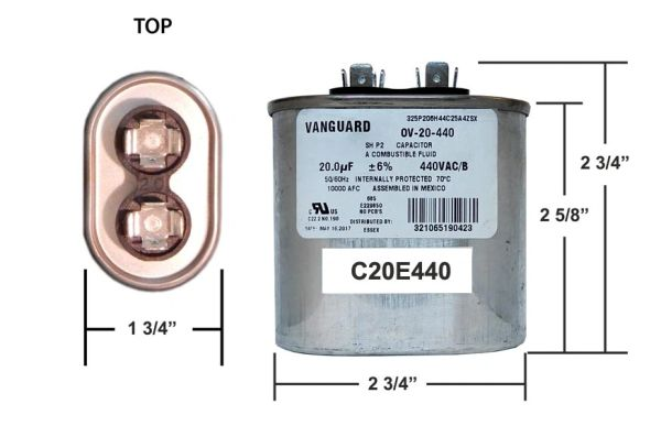 20 MFD 440 VAC Oval Motor Run Capacitor