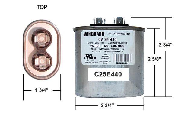 25 MFD 440 VAC Oval Motor Run Capcitor