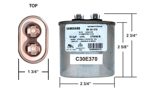30 MFD 370 VAC Oval Motor Run Capacitor