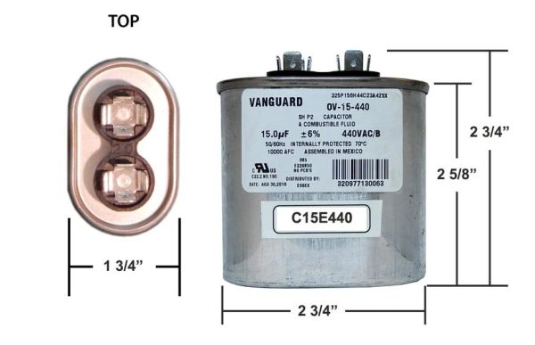 15 MFD 440 VAC Oval Motor Run Capacitor