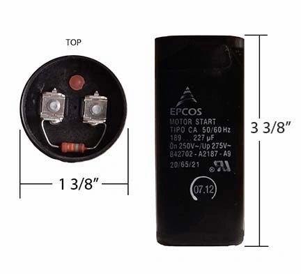 WEG 189-227 MFD 250 Volt Motor Start Capacitor