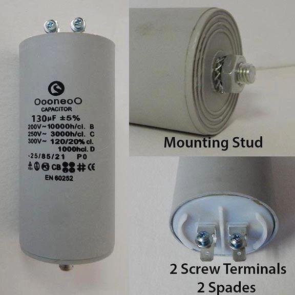 130 MFD 250 VAC Air Compressor capacitor w/mounting stud