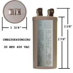WEG 30 MFD 400 VAC Short Motor Run Capacitor