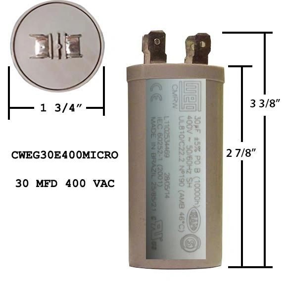 WEG 30 MFD 400 VAC Short Motor Run Capacitor