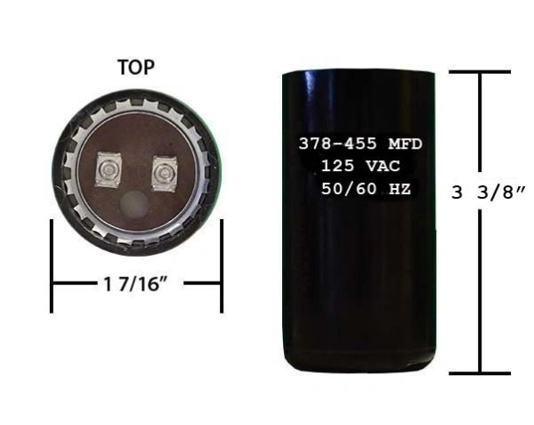 378-454 MFD 110/125 VAC motor start capacitor