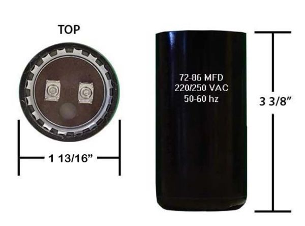 72-86 MFD 250 VAC Motor Start Capacitor