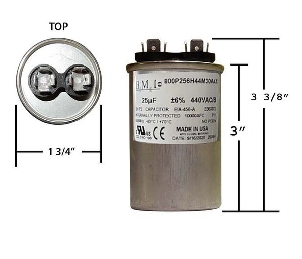 25 MFD 440 VAC Round Run Capacitor