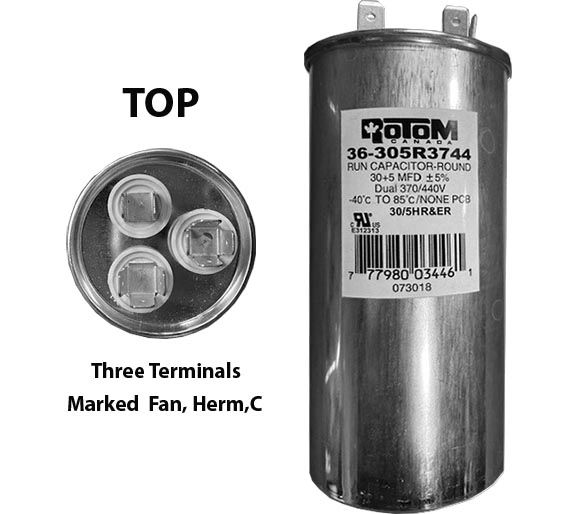 30 MFD and 5 MFD 440 Volt Dual Capacitor Round