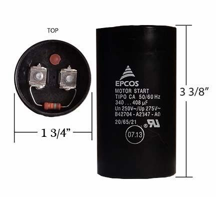 WEG 340-408 MFD 250 Volt Motor Start Capacitor