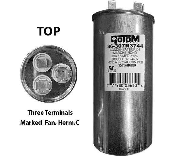 30 MFD and 7.5 MFD 440 Volt Dual Capacitor Round