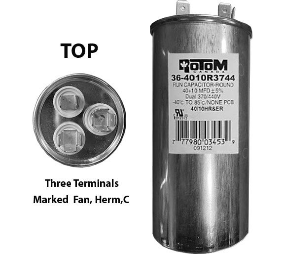 40 MFD and 10 MFD 440 Volt Dual Capacitor Round