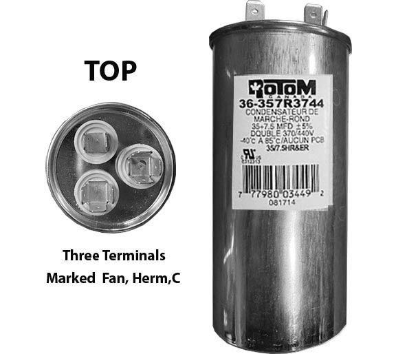 35 MFD and 7.5 MFD 440 Volt Dual Capacitor Round