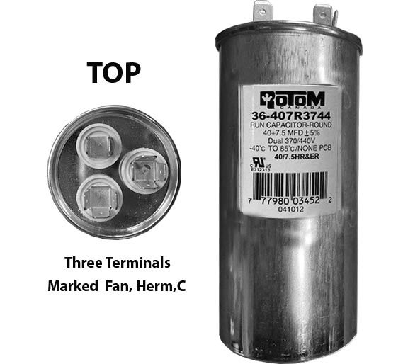 40 MFD and 7.5 MFD 440 Volt Dual Capacitor Round