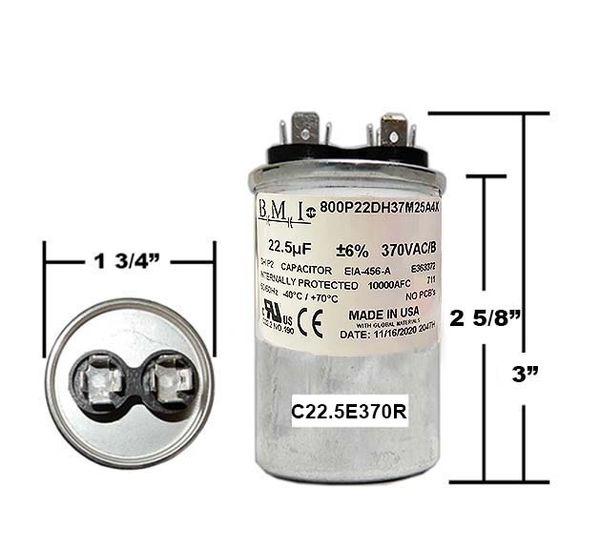22.5 MFD 370 Volt Round Run Capacitor