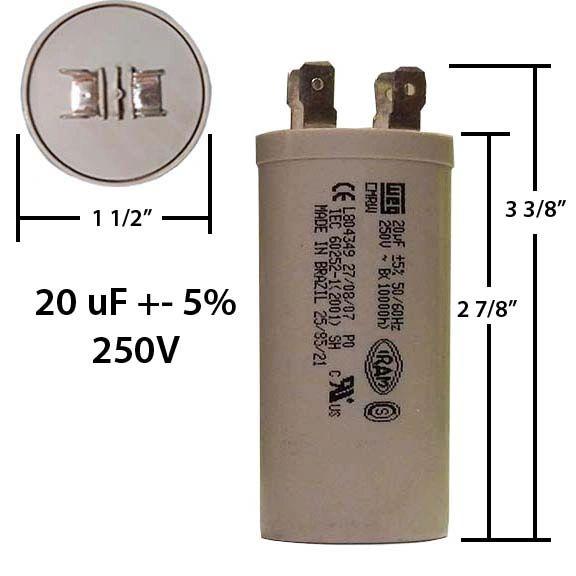 WEG 20 MFD 250 VAC Motor Run Capacitor
