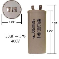 WEG 30 MFD 400 VAC Motor Run Capacitor