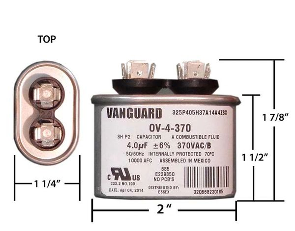 4 MFD 370 VAC Oval Motor Run Capacitor