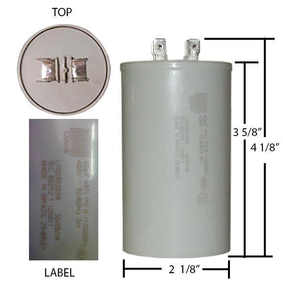 WEG 60 MFD 400 VAC Motor Run Capacitor