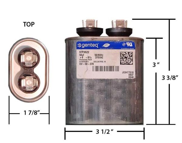 50 MFD 370 VAC Oval Motor Run Capacitor