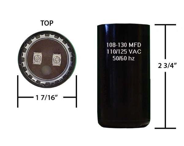 108-130 MFD 110/125 VAC motor start capacitor