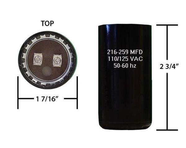 216-259 MFD 110/125 VAC motor start capacitor