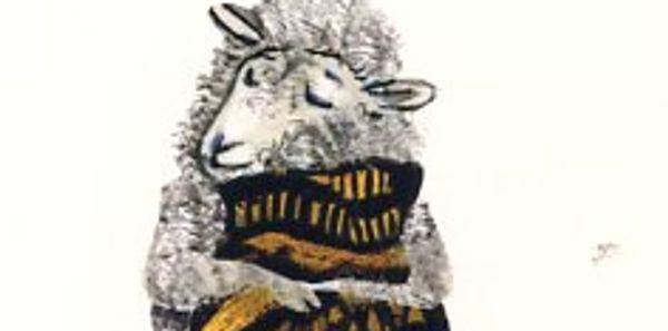 I so enjoyed the look of utter pleasure on the sheep face as he opens the gift of a great sweater. K