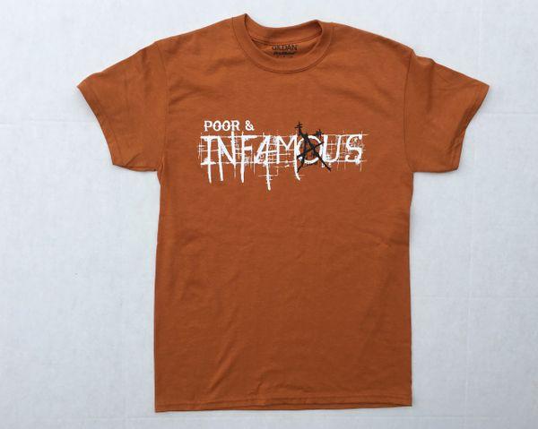 Poor and Infamous New Logo Tee - Burnt Orange