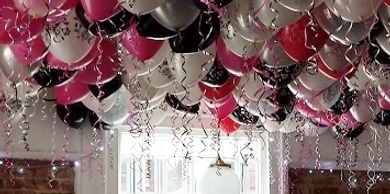Ceiling Balloons, a ceiling full of helium filled latex balloons