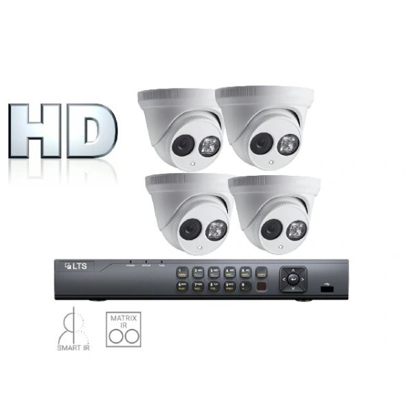 Four 2.1MP Matrix IR Turret Security Camera Bundle W Installation