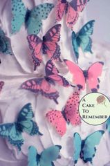 28 pink and blue edible cake decorating butterflies