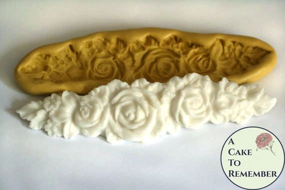 Triple rose medallion swag mold for cakes and resin crafting M5028