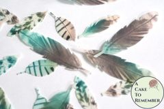 35 Wafer paper feathers, cream, teal and coral pastel colors in 3 small sizes