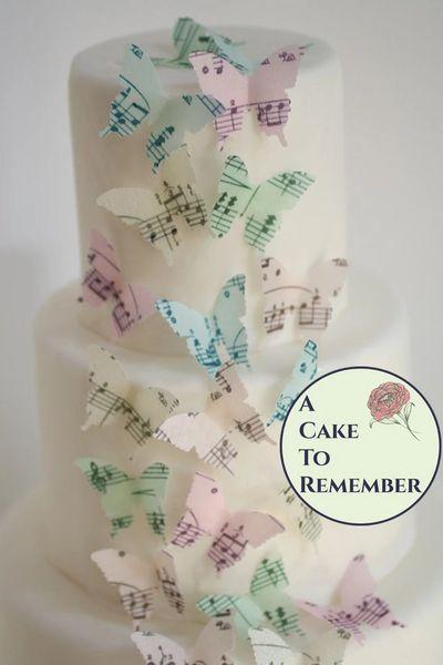 24 sheet music mini cupcake decorations wafer paper butterflies