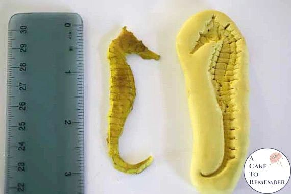 Silicone seahorse mold for cake decorating or melt and pour soap making