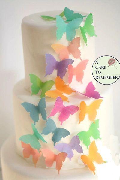 24 watercolor edible wafer paper butterflies