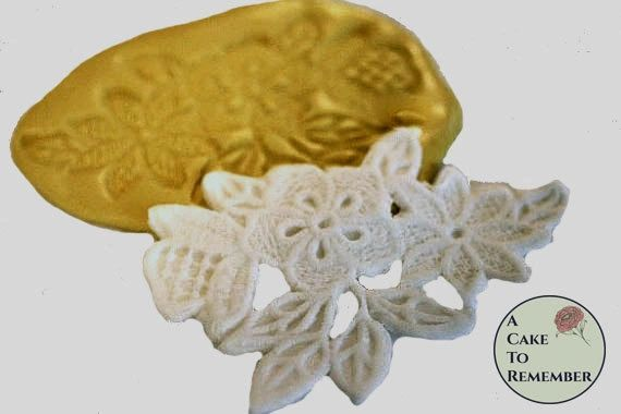 Flower and leaf lace silicone mold for cake decorating M1005