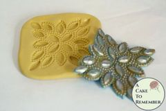 Diamond rhinestone beaded applique fondant mold for wedding cakes. M5094
