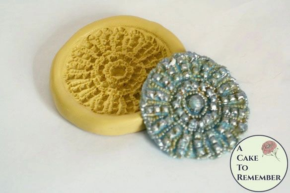 Silicone round rhinestone medallion elegant lace mold M5088