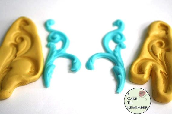 Branching scrollwork mold set, swag mold for cake decorating M5036