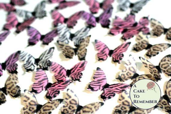 24 animal print edible cake decorating butterflies