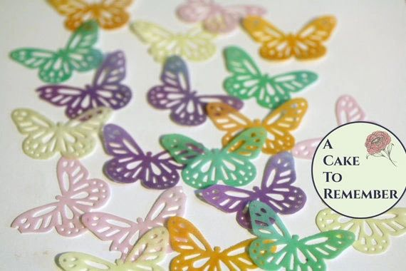 """24 lacy edible butterflies for cake decorating, 1.5"""" wide"""