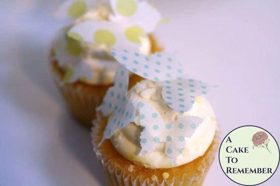 24 polka dot edible butterflies mini cupcake decorations