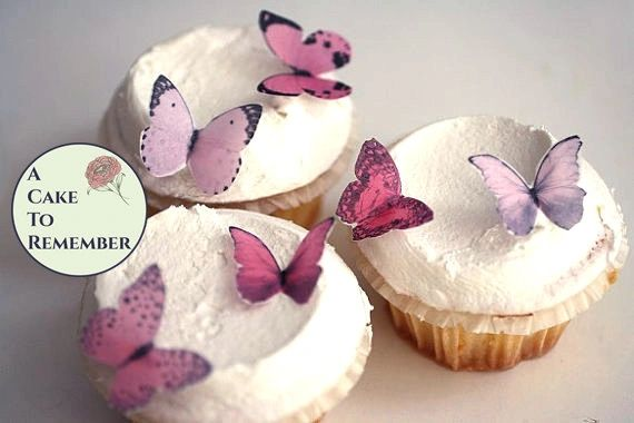 24 small pink edible cake decorating butterflies