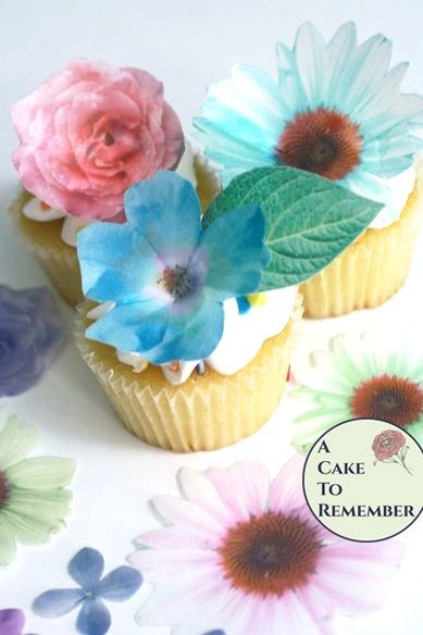 24 wafer paper flowers and leaves for cake decorating and cupcake decorating
