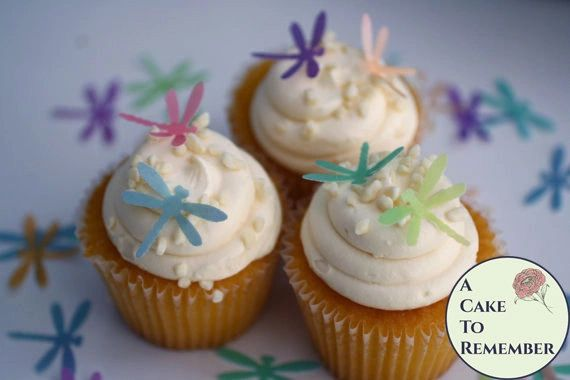 "24 watercolor 1"" wafer paper edible dragonflies mini cupcake decorations"
