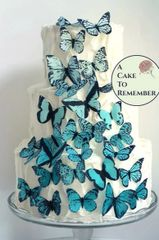 30 teal ombre wafer butterflies for cake cascades