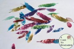 35 Wafer paper feathers, rainbow colors in 3 small sizes