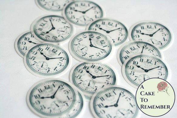 "Twelve 2"" pocketwatch clock faces for Alice in Wonderland cookies."