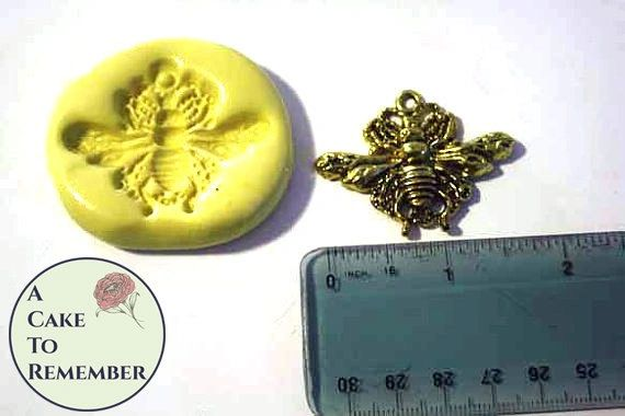 Ornate bee mold for cake decorating, cupcakes or polymer clay M1090